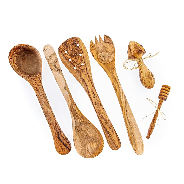 Amazon.com: Olive Wood Handmade Serving & Cooking Utensils Set of 6 ...