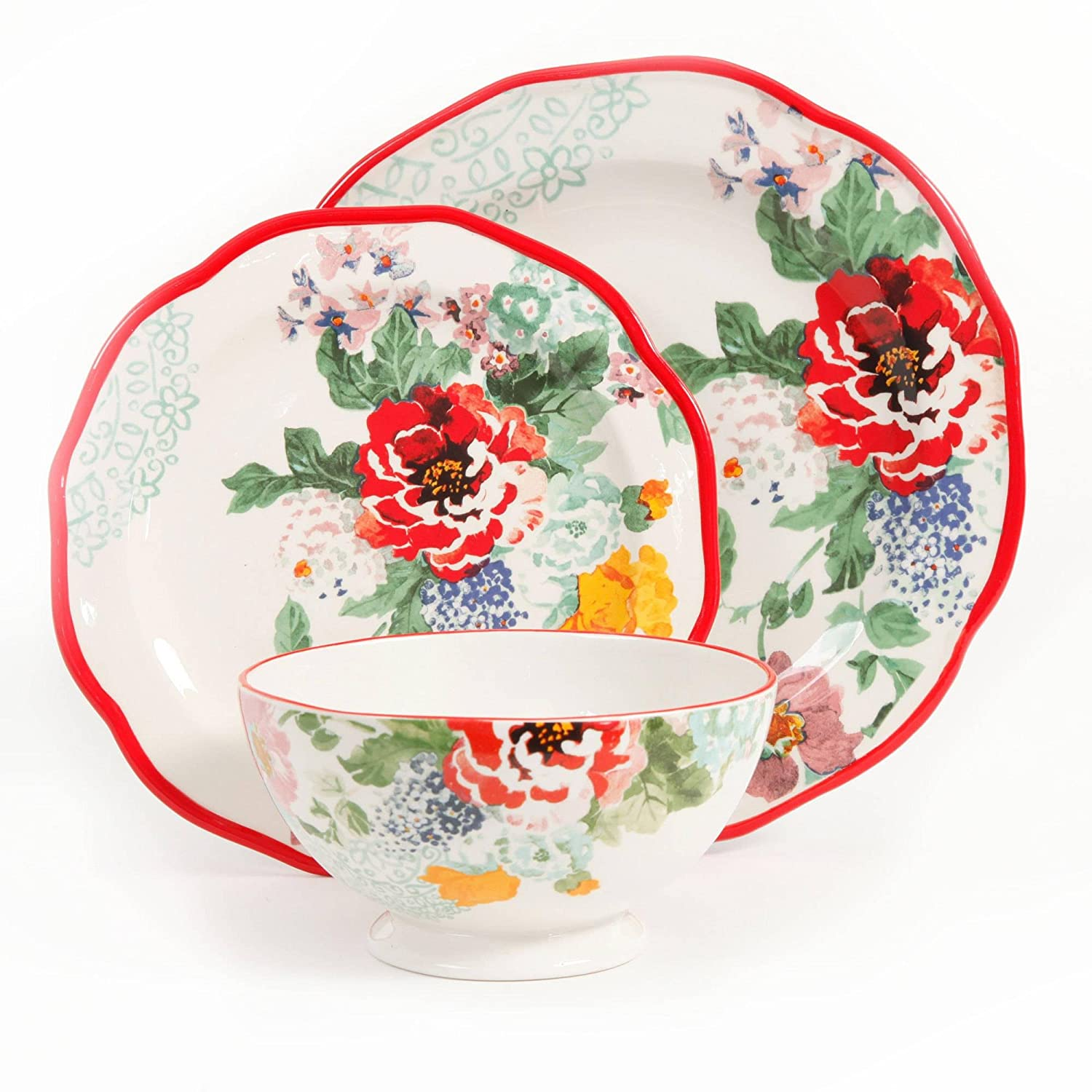 Amazon.com | The Pioneer Woman 82709.12R Country Garden 12-Piece Decorated Dinnerware Set Dinnerware Sets  sc 1 st  Amazon.com : dinnerware cheap - pezcame.com