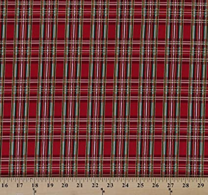 cotton holiday plaid red green metallic gold plaid christmas cotton fabric print by the yard - Christmas Plaid Fabric