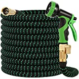 Buheco Garden Hose 100ft-Water hose with 9 Function Spray Nozzle and Durable 3/4 inch Solid Brass Fittings No Kink Flexible L