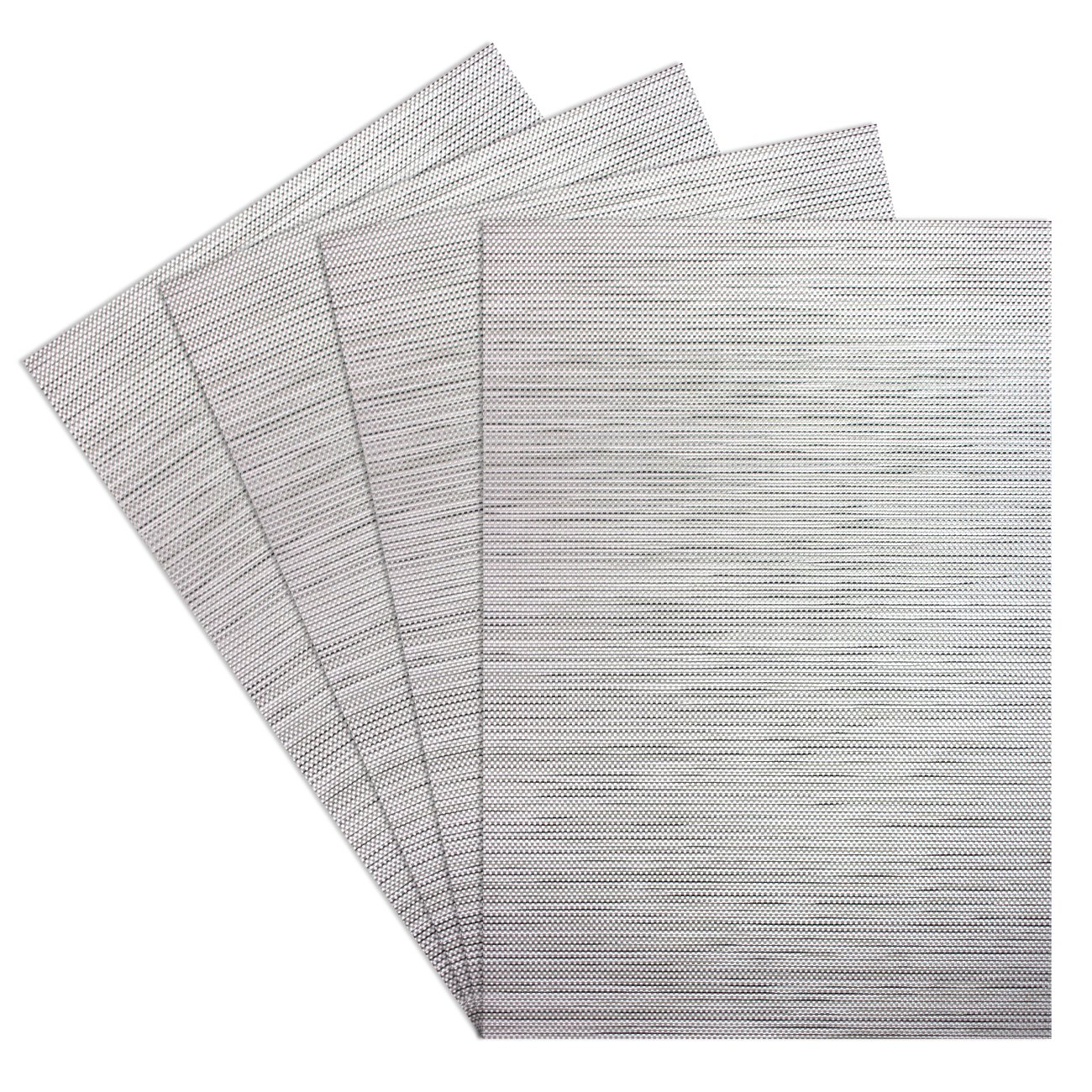 Kitchen PVC Placemats - Dining Room Heat Insulation Stain-resistant Eat Mats for Table - Rectangle Washable Recycled Non-slip Woven Plastic Vinyl Simple Style Place Mats,Set of 4,Silver