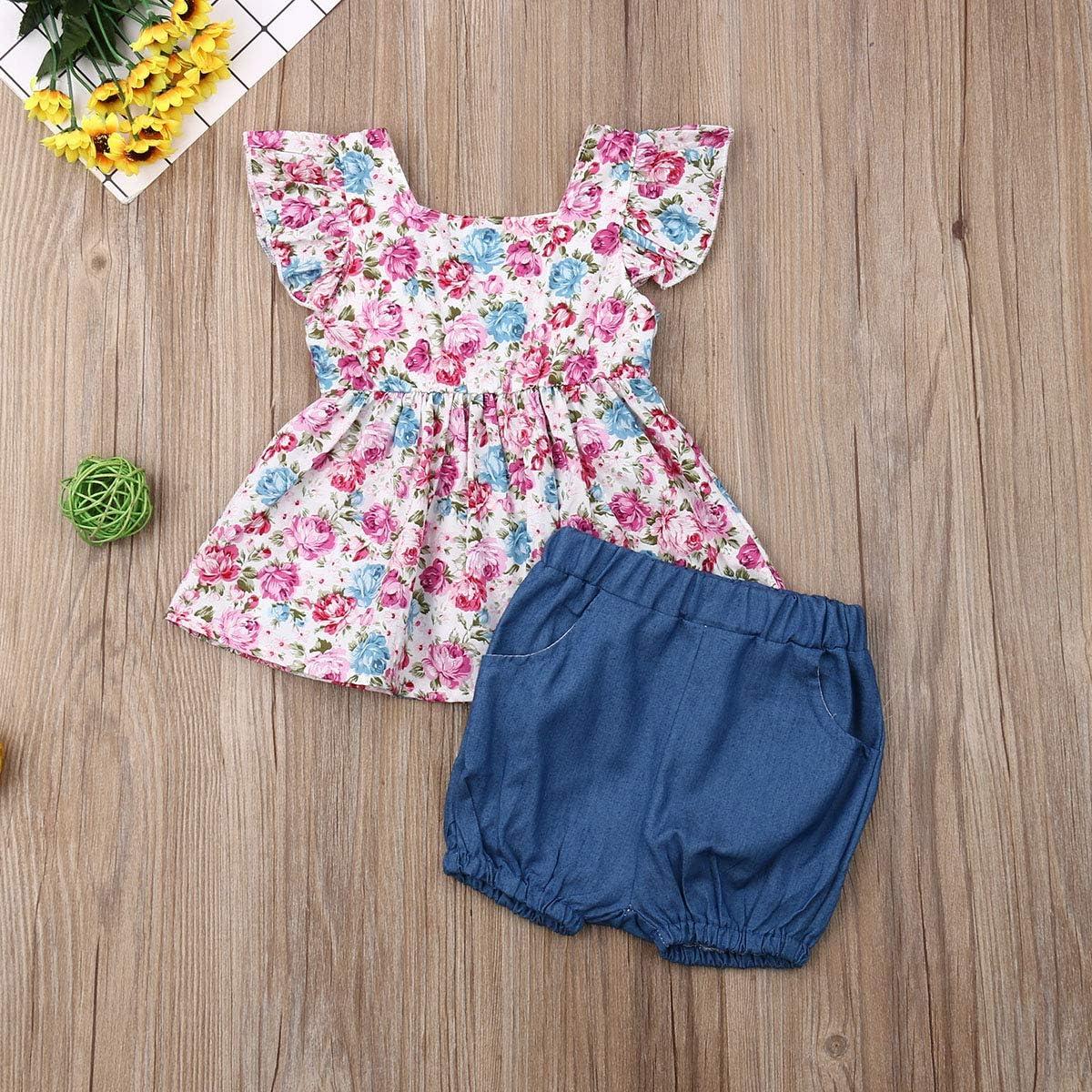 Toddler Newborn Girls Floral Ruffle Sleeveless Dress Tops Shirt Bloomer Short Pants Set with 2 Pockets