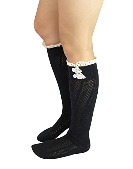 f759ad26b15 Knit Button Boot Socks with Lace Trim Knee High Socks by CL Couture (Black)