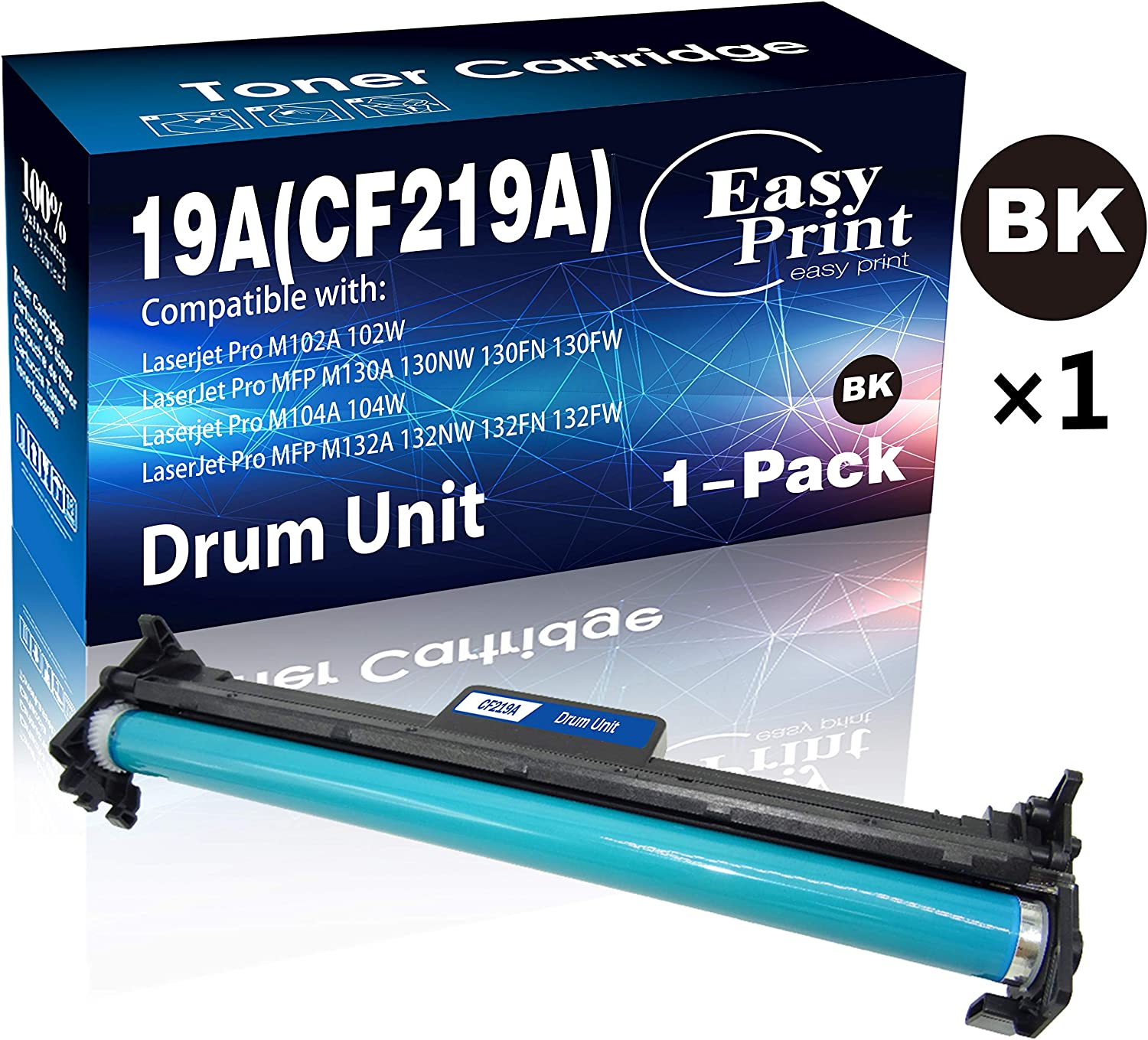1-Pack Compatible CF219A Drum Unit 19A Imaging Unit Used for Laserjet Pro M102A M102W M104A M104W M130FW M130NW M130FN M132FW M132NW M132FN Printer, Sold by EasyPrint