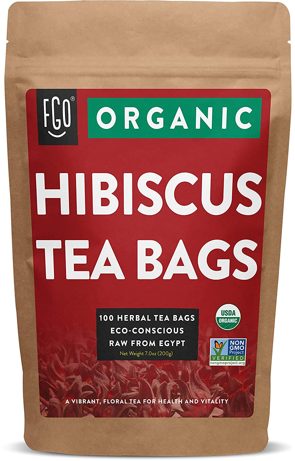 Organic Hibiscus Tea Bags | 100 Tea Bags | Eco-Conscious Tea Bags in Kraft Bag | Raw from Egypt | by FGO
