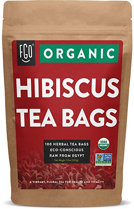 Organic Hibiscus Tea Bags | 100 Tea Bags | Eco-Conscious Tea Bags in Kraft Bag | Raw from Egypt | by FGO