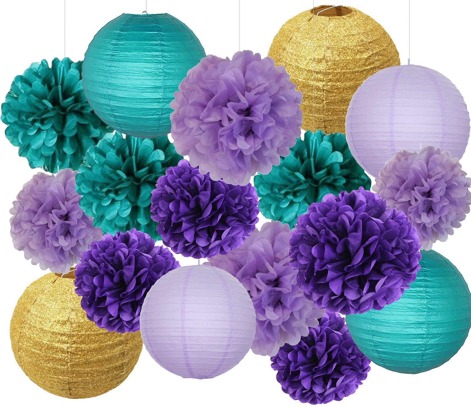 Furuix Under The Sea Party Decorations/Mermaid Party Supplies 18pcs Teal Lavender Purple 10inch 8inch Tissue Paper Pom Pom Paper Lanterns for Birthday Party Decor Baby Shower Decorations