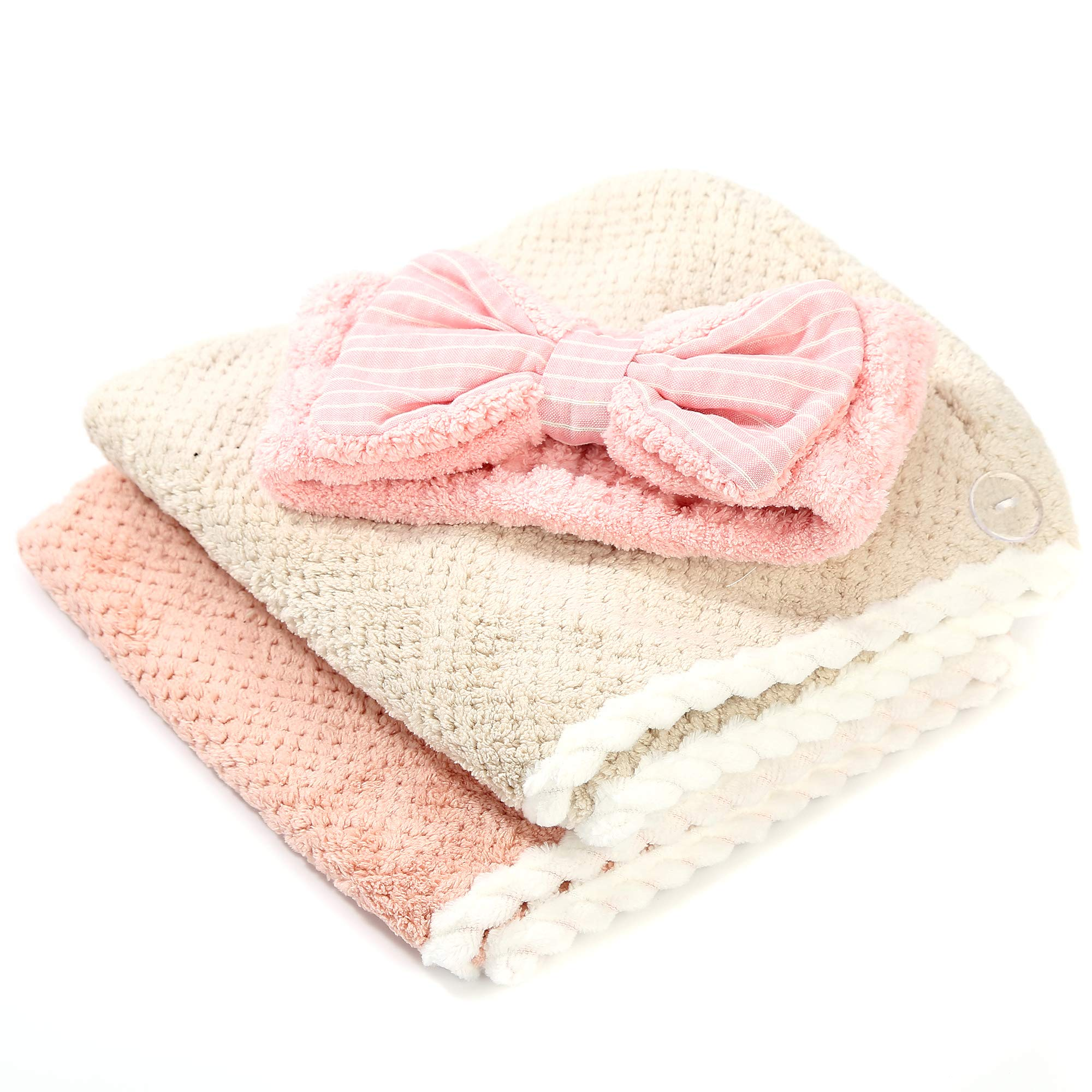 Cerulean Home 2-Pack Microfiber Quick Dry Hair Towel Wrap for Women with 1-Pack Spa Facial Headband by Cerulean Home