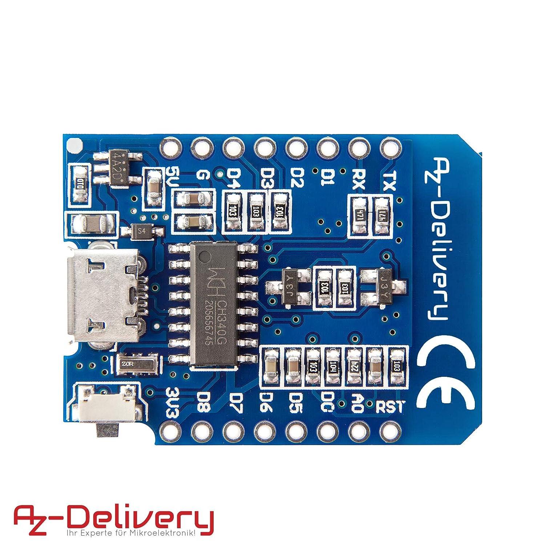 100/% Compatible con WeMos D1 Mini AZDelivery ⭐⭐⭐⭐⭐ D1 Mini NodeMcu Lua ESP8266 ESP-12E M/ódulo de Internet WLAN WiFi Board de Desarrollo para Arduino