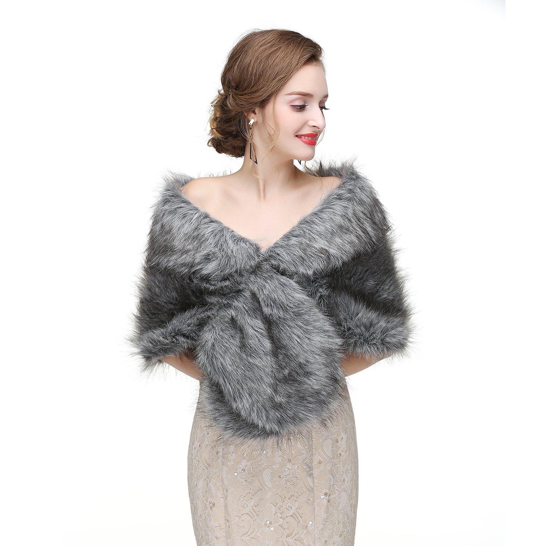 Limeng Women Evening Party Faux Fur Coat Wedding Cloak Cape Grey Shawl