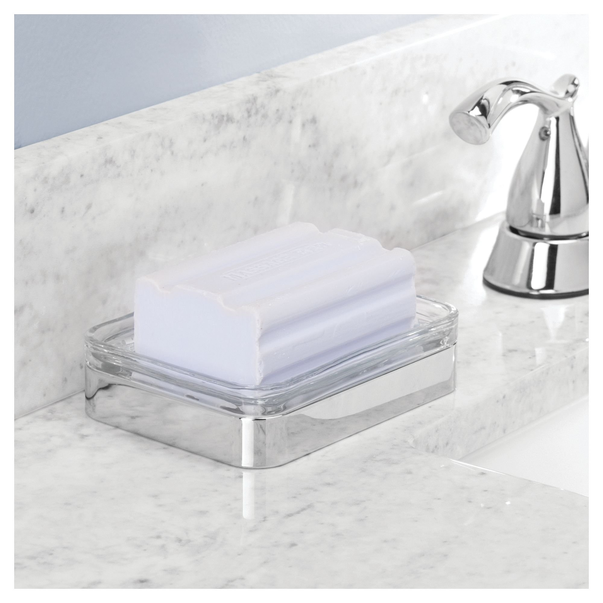 InterDesign Casilla Bar Soap Dish for Bathroom Countertop, Vanity, Kitchen Sink - Clear/Chrome (24231) by InterDesign (Image #3)