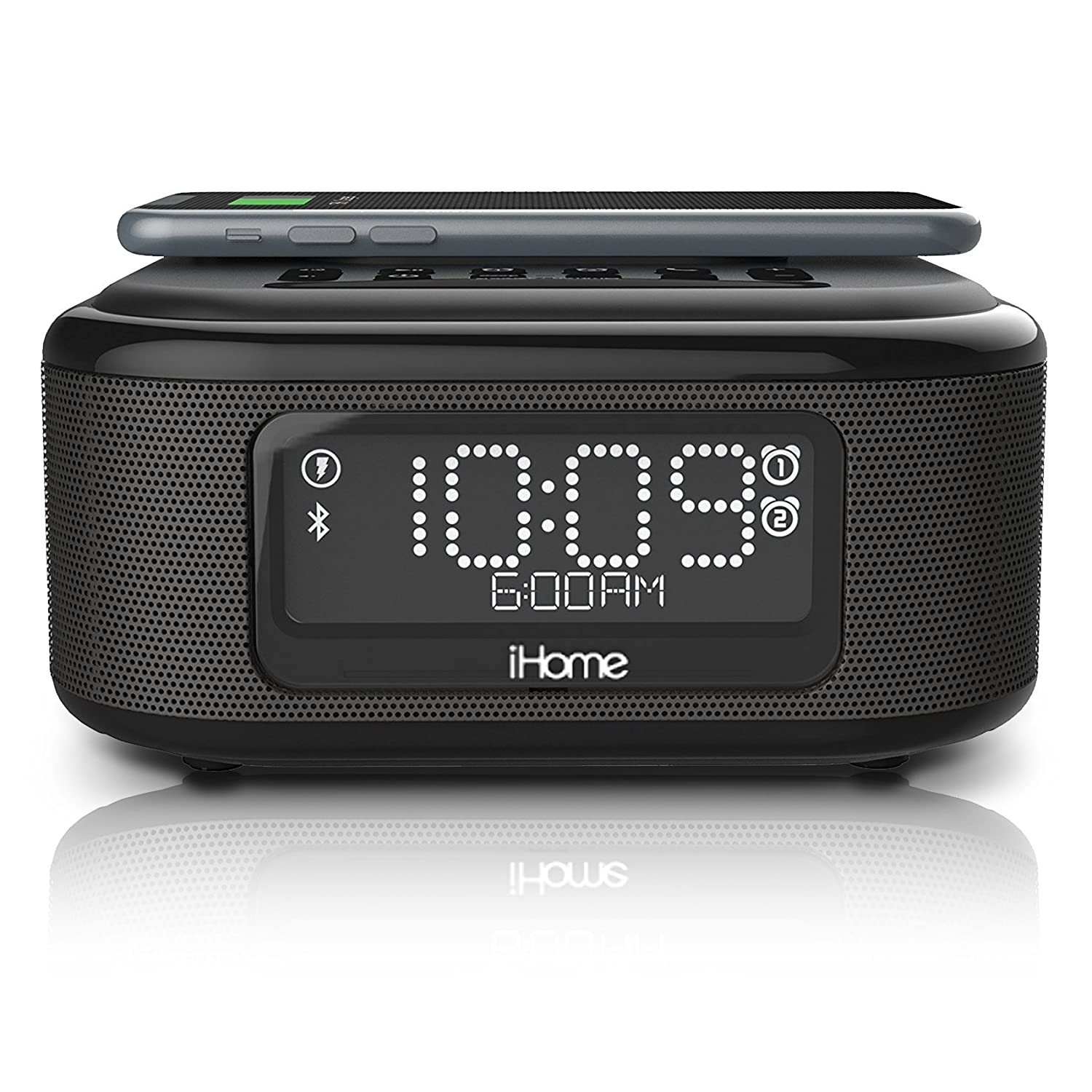 iHome iBTW23 Alarm Clock Bluetooth Stereo with Lightning iPhone Qi Wireless Charging Dock Station for iPhone Xs, XS Max, XR, X, iPhone 8/7/6 Plus USB ...