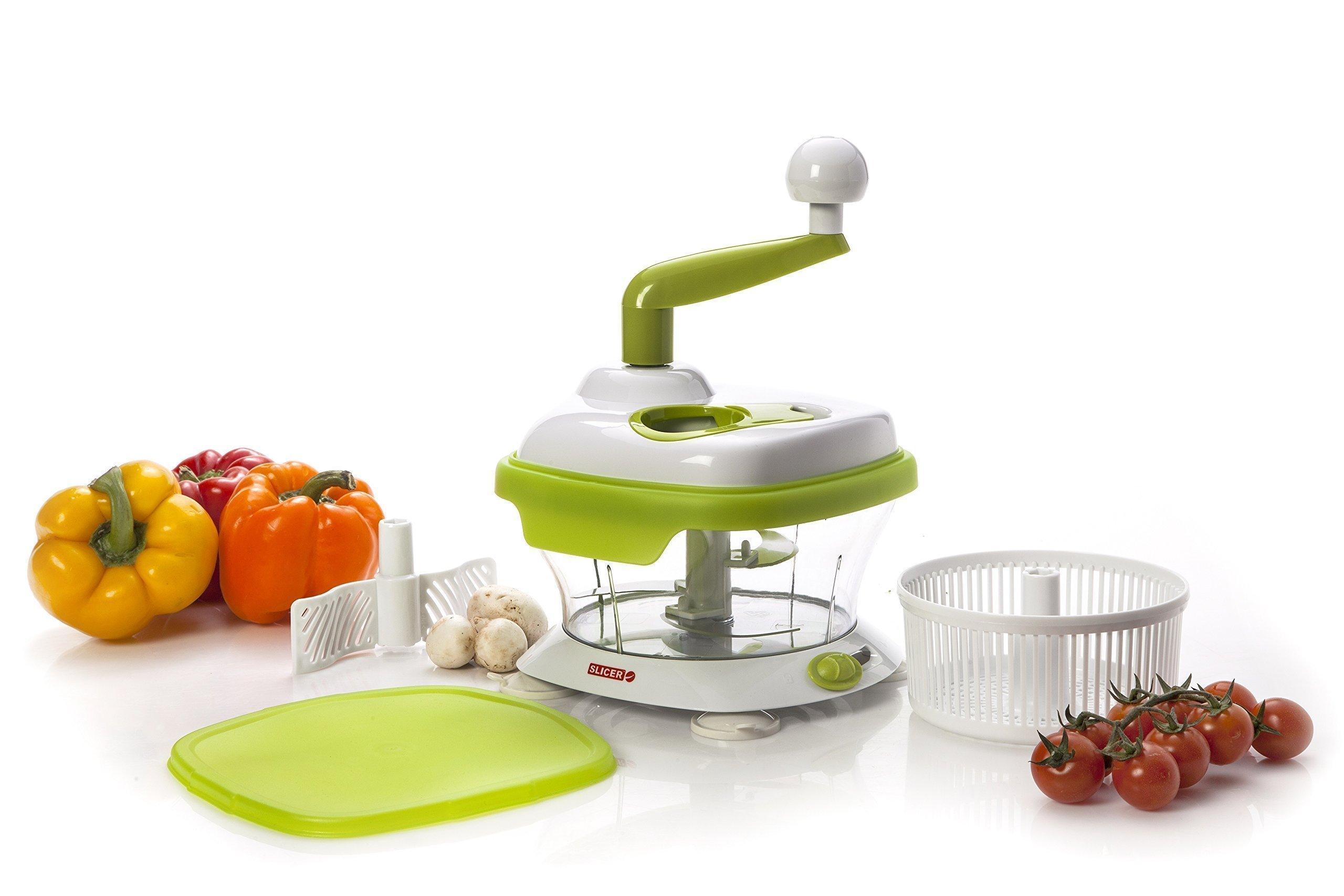 Original MASTER SLICER, BPA Free - Manuel Food Processor, Mandoline Slicer, Spinner Chopper Dicer for Fruits, Herbs, Lettuce, Salsas, Salad & Foods - w/ Turbo Peeler by SLICER