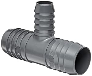 """Spears 1401 Series PVC Tube Fitting, Tee, Schedule 40, Gray, 3/4"""" x 3/4"""" x 1/2"""" Barbed"""