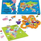 Imagimake India and World Map with Capitals and Countries Flags Educational Toys Mapology Combo for Boys and Girls (Multicolour) - Set Of 3