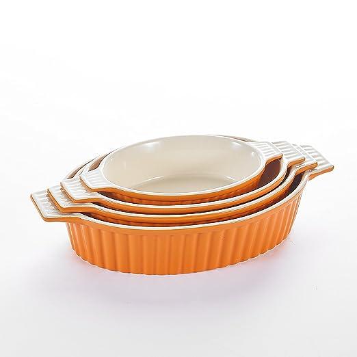 MALACASA, Serie Bake.Bake, 4 Piezas Porcelana Molde Molde Pan ...