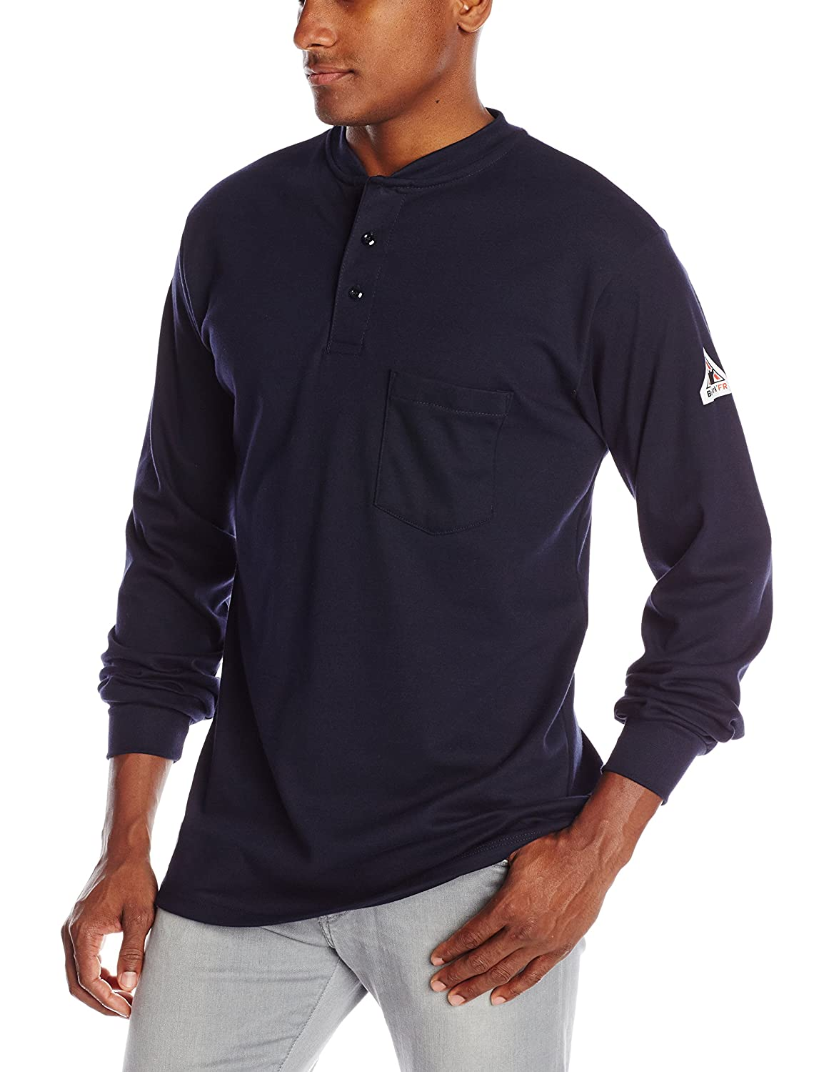 Bulwark Flame Resistant 6.25 oz Cotton Long Sleeve Tagless Henley Shirt, Navy, Large SEL2NV RG L