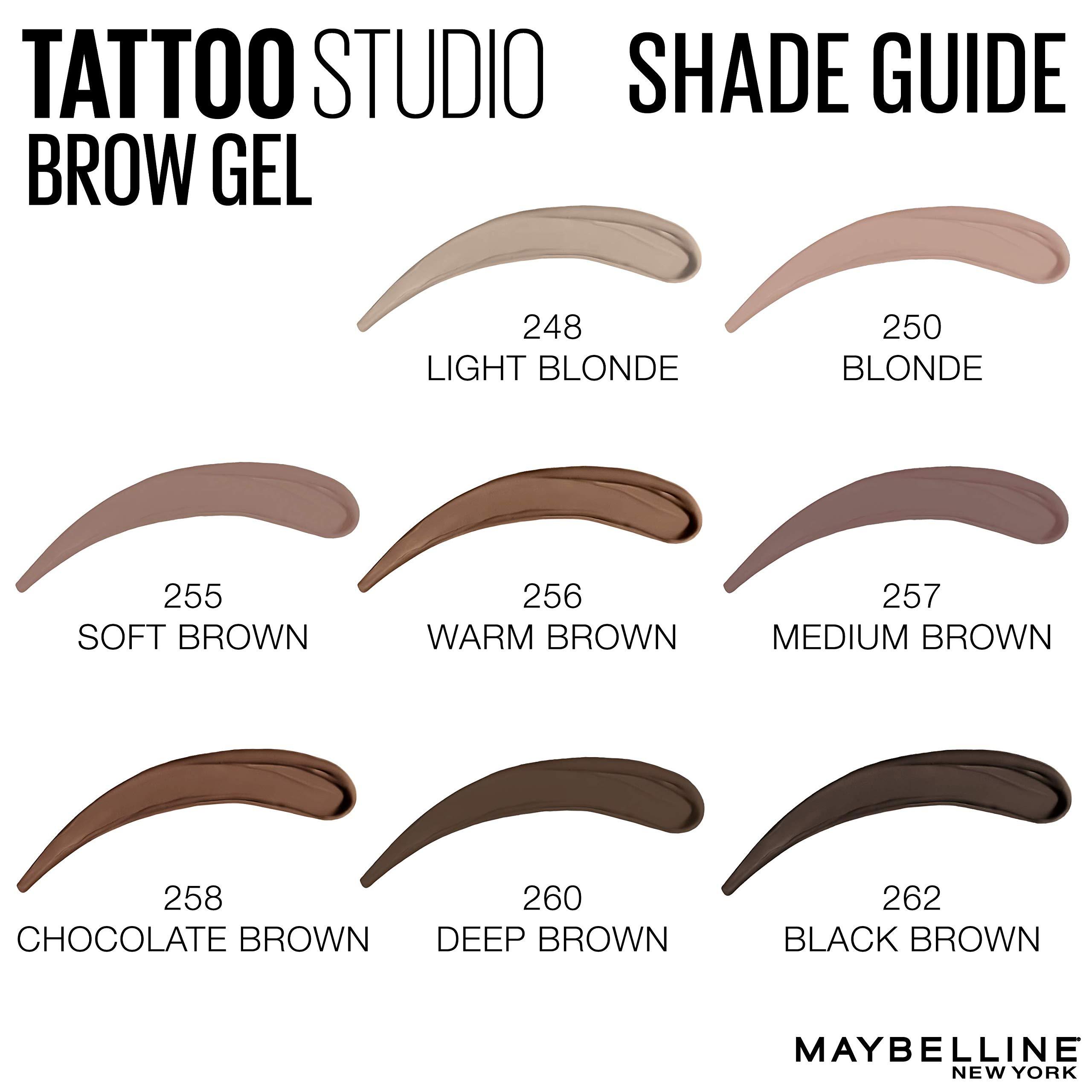 Maybelline Tattoostudio Waterproof Eyebrow Gel Makeup Deep Brown