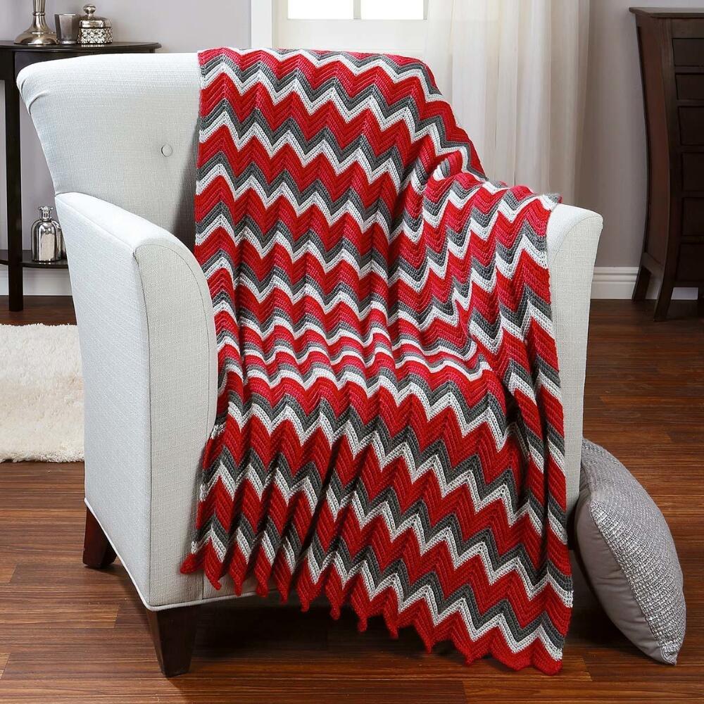Herrschners® Very Berry Ripple Crochet Afghan Kit
