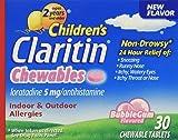 Claritin Children's 24 Hr Allergy Relief Bubble Gum Flavor 30 Chewable Tablets