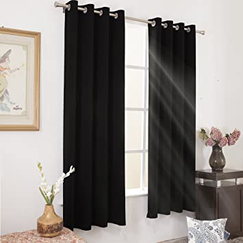 Black Blackout Curtains 84 Inches Length Window Treatment Thermal Insulated Room Darkening Light Blocking