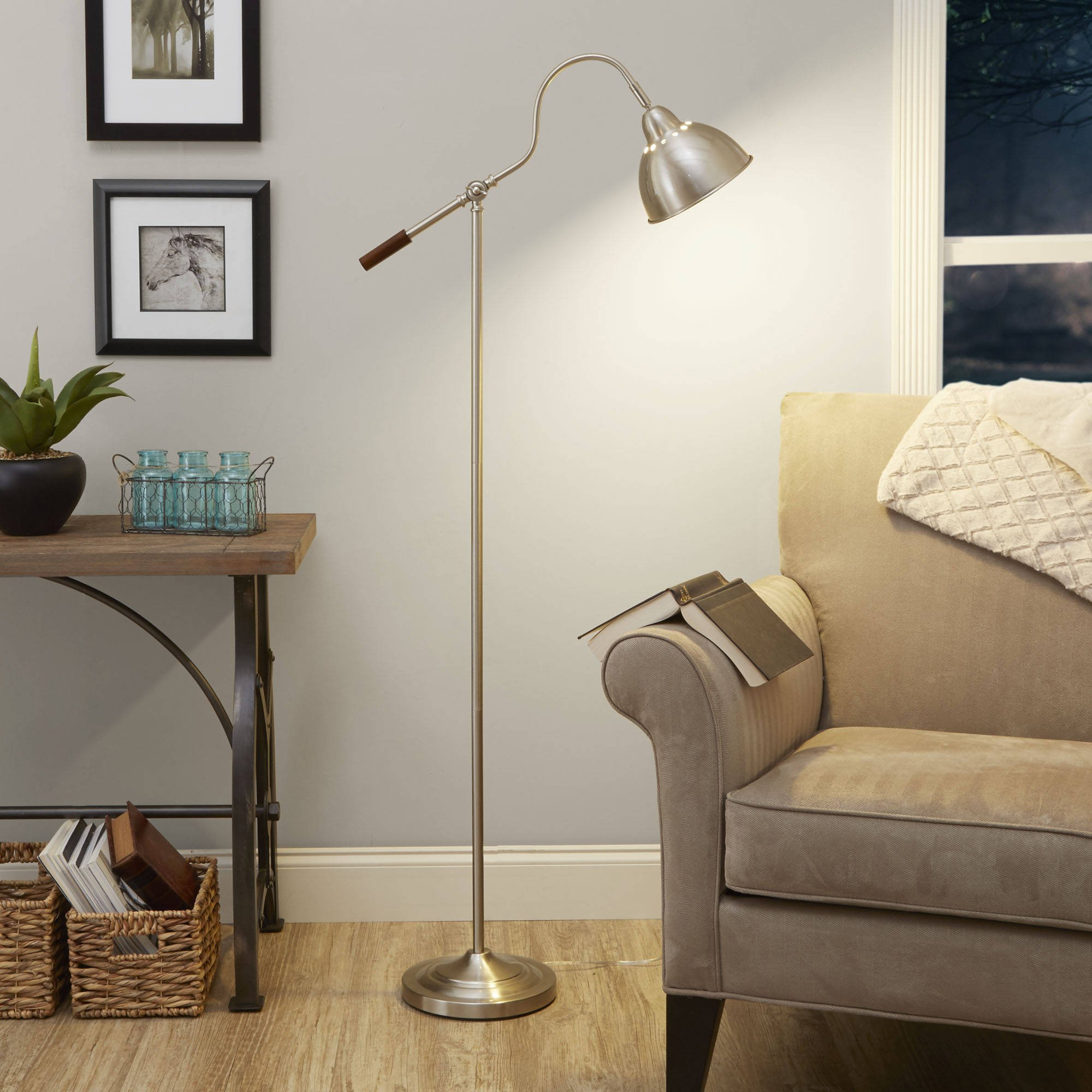 60 Inch Classic Style Dome Shade Task Floor Lamp with Adjustable Arm & Brushed Nickel Finish For Cozy Reading Corner