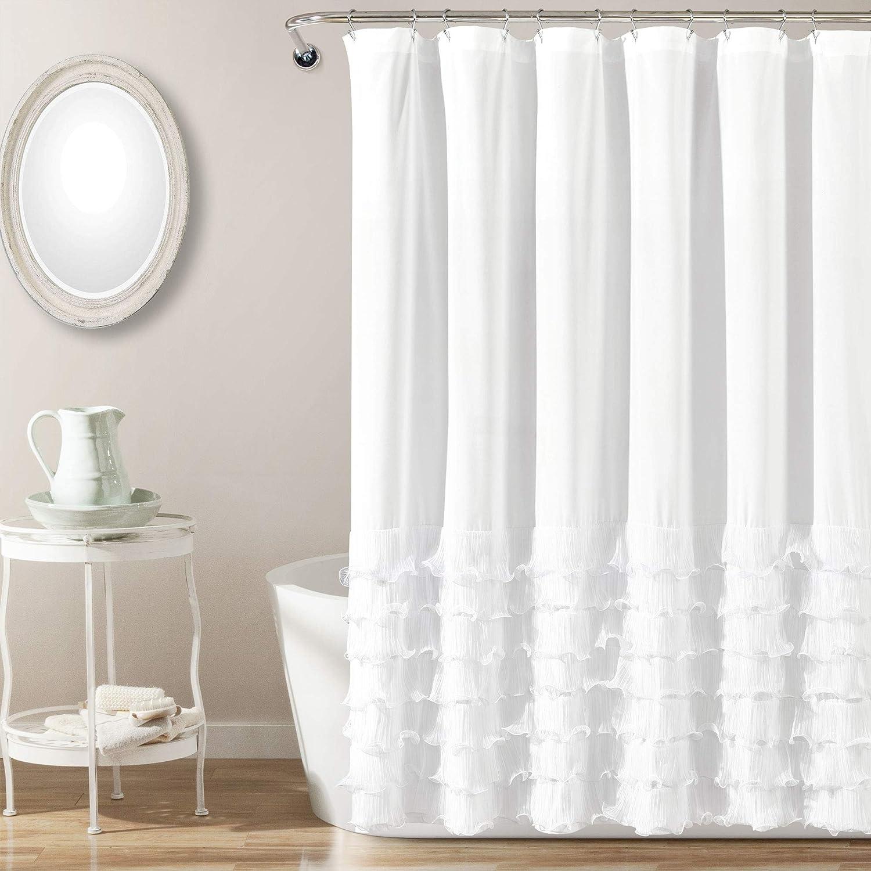 Amazon Com Lush Decor Avery Shower Curtain Ruffled Shabby Chic Farmhouse Style Bathroom 72 X 72 White Home Kitchen