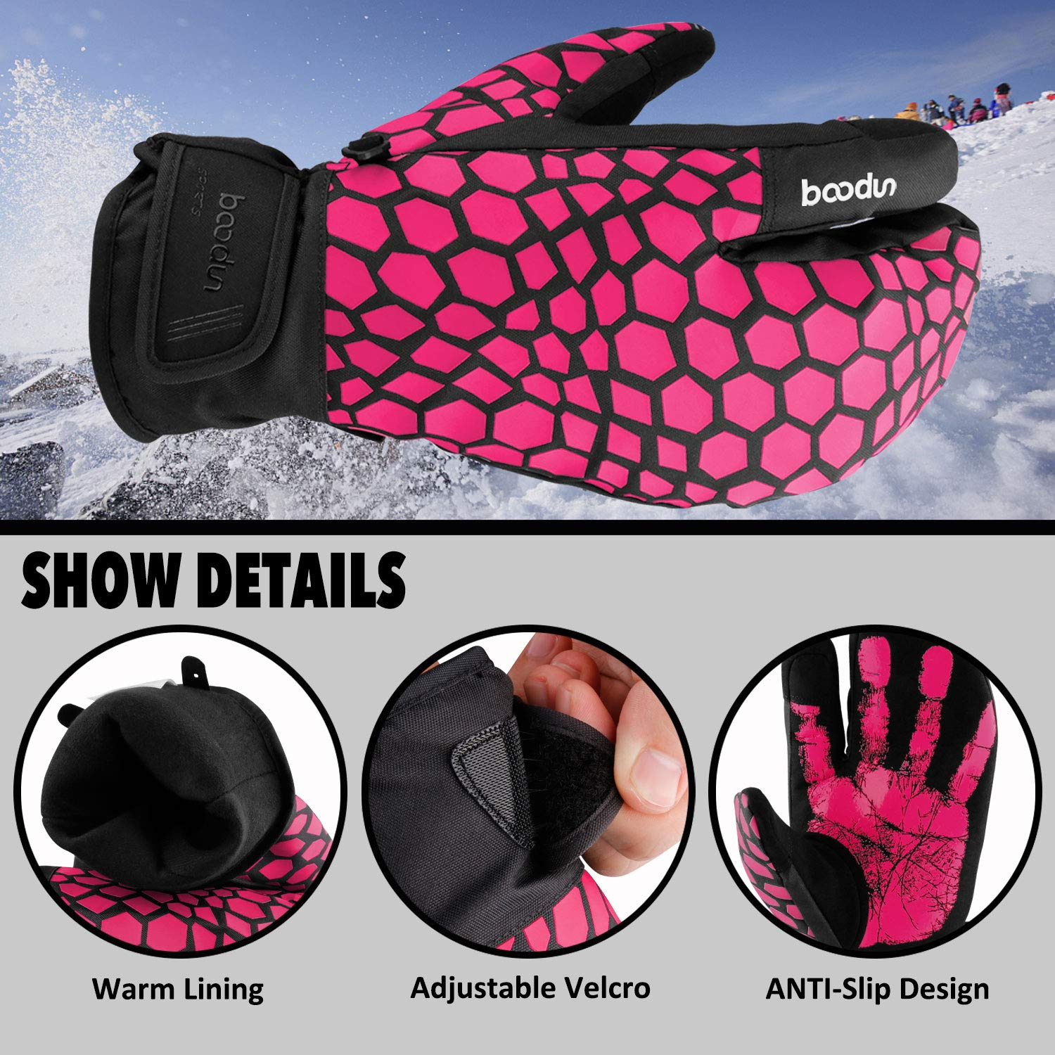 Cycling Snowboarding 3-Finger Mittens Men Women Winter Warm Gloves with Touchscreen for Cold Winter Skiing Waterproof Cold Weather Gloves Venoro Ski Gloves