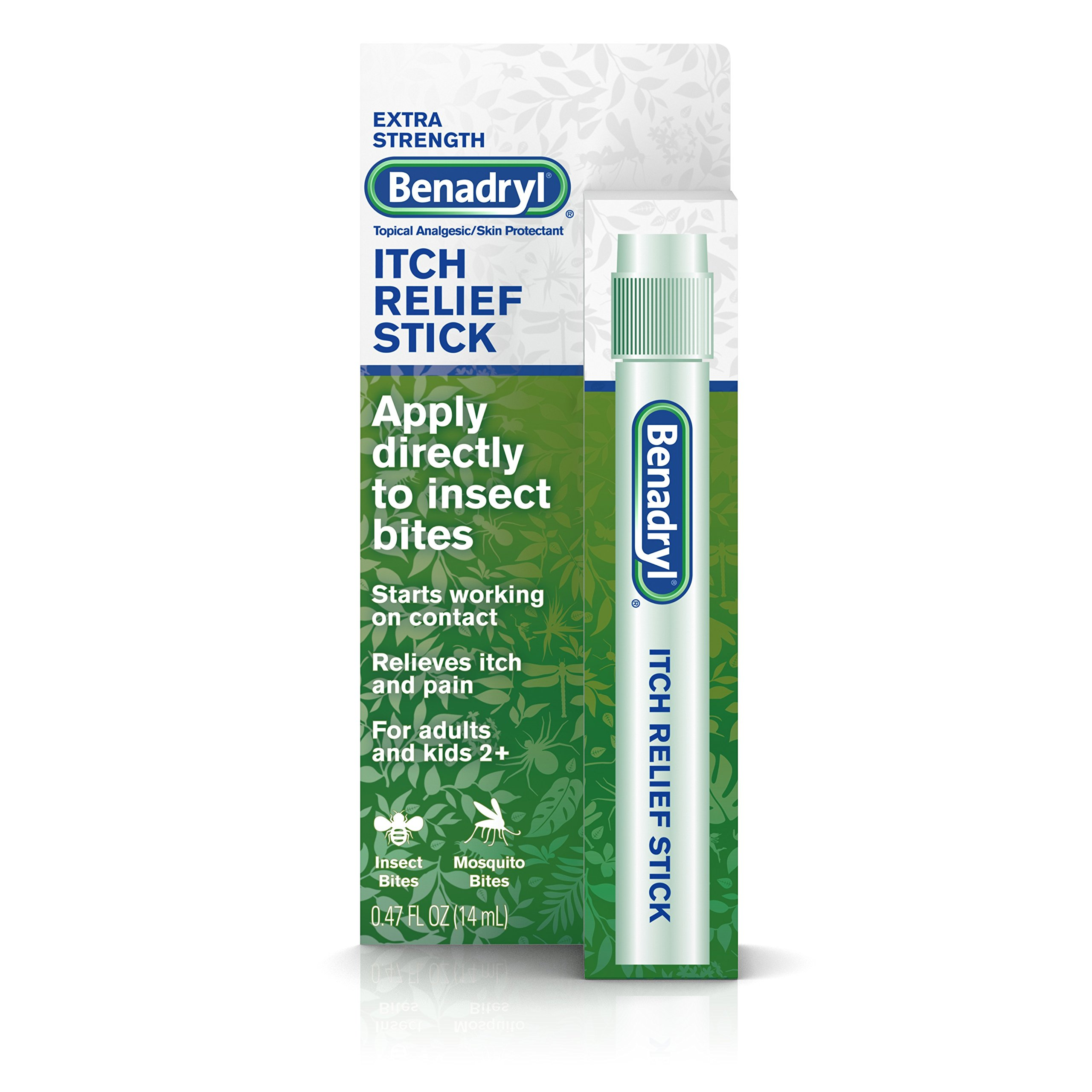 Benadryl Extra Strength Itch Relief Stick, Topical Analgesic, Travel Size.47 fl. oz (Pack of 3)