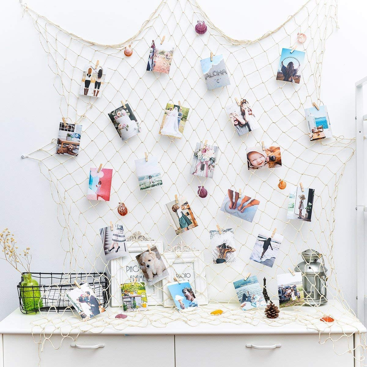 HAYATA ⭐️Photo Hanging Display with 40 Clip Fishing Net Wall Decor - Picture Frames & Prints Multi Photos Organizer & Collage Artworks - Nautical Decorative Dorm Bedroom Christmas Decorations QG01