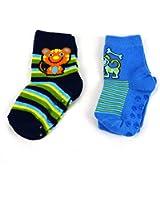 2 er Pak ABS Socken jungen, Motiv Teddy & Hund, Größe 21-23