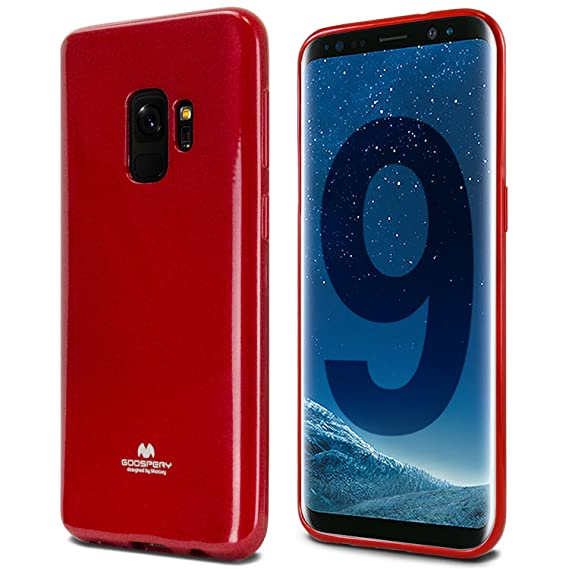 Galaxy S9 Case, [Thin Slim] GOOSPERY [Flexible] Pearl Jelly Rubber TPU Case [Lightweight] Bumper Cover [Impact Resistant] for Samsung Galaxy S9 (RED) ...