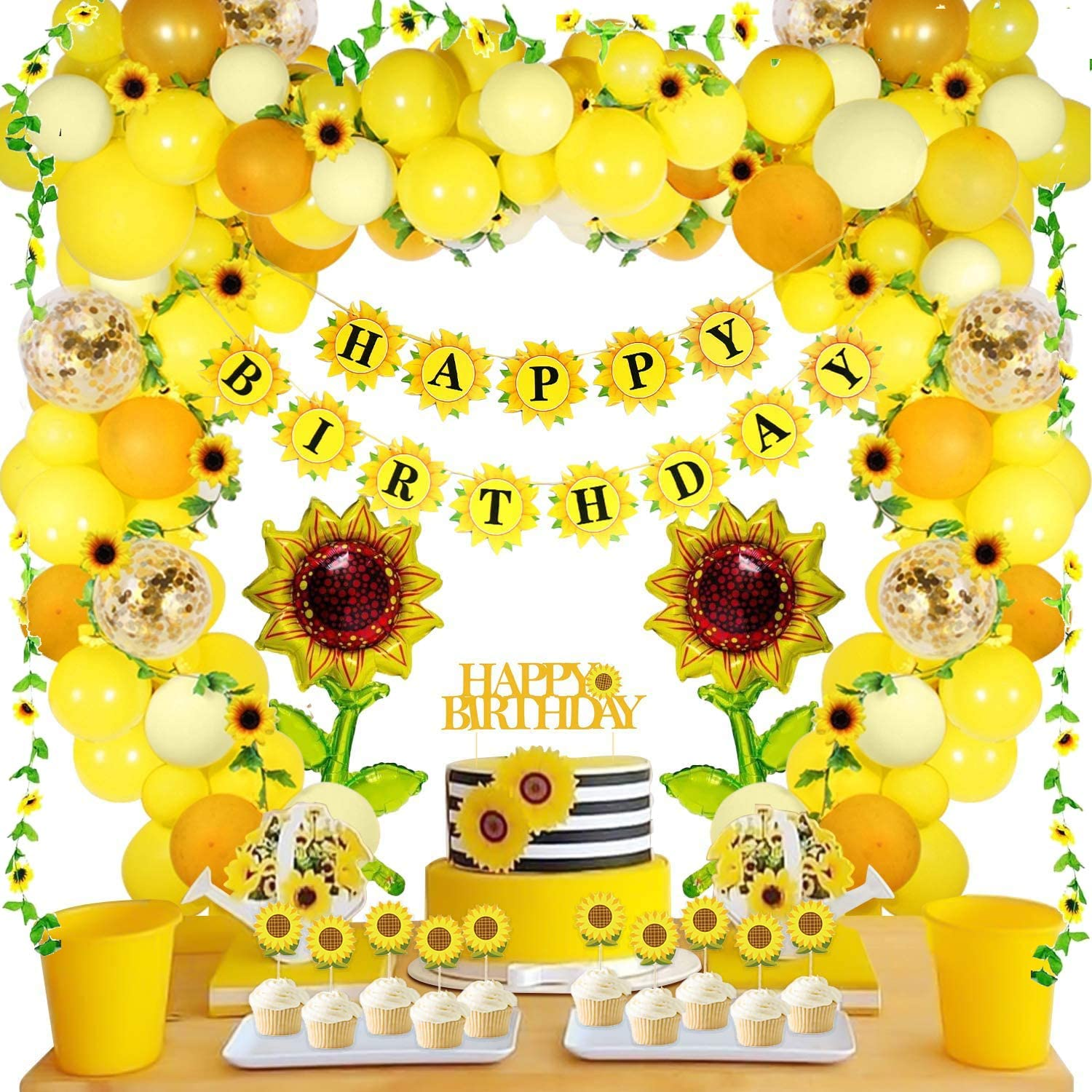 105 PCS Sunflower Birthday Decorations Sunflower Party Supplies, Sunflower Banner, Artificial Sunflower Garland, Sunflower Cake Toppers,Sunflower Balloons for Birthday Party Wedding Baby Shower Decor