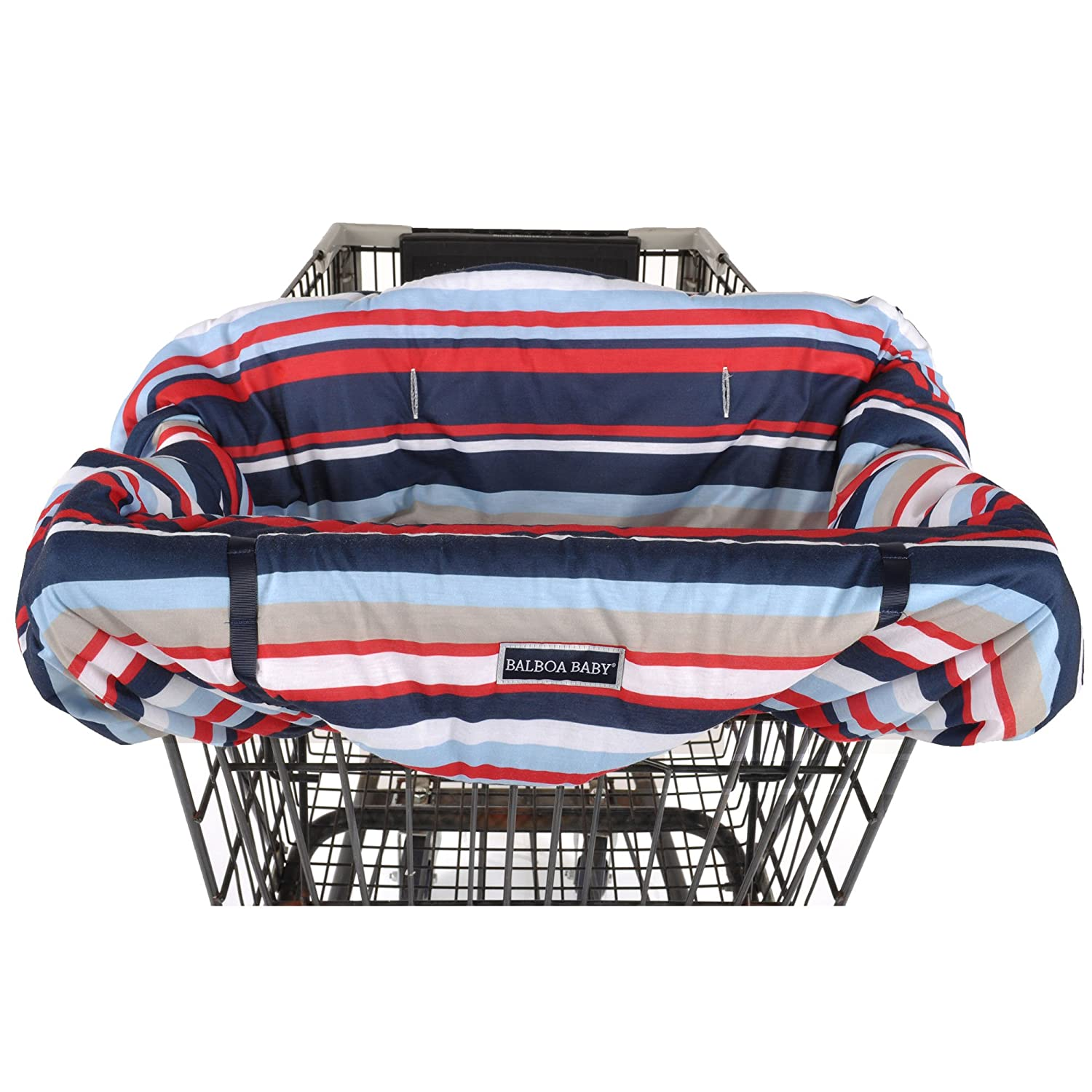 Balboa Baby Jersey Shopping Cart Cover - Navy & White Jumbo Dot 93003