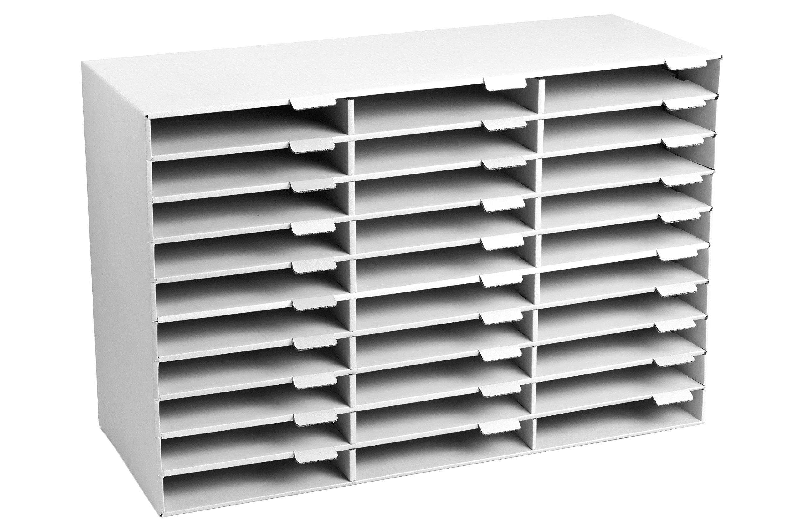 AdirOffice File Organizer Classroom - Office - Home (30 Slots, White)