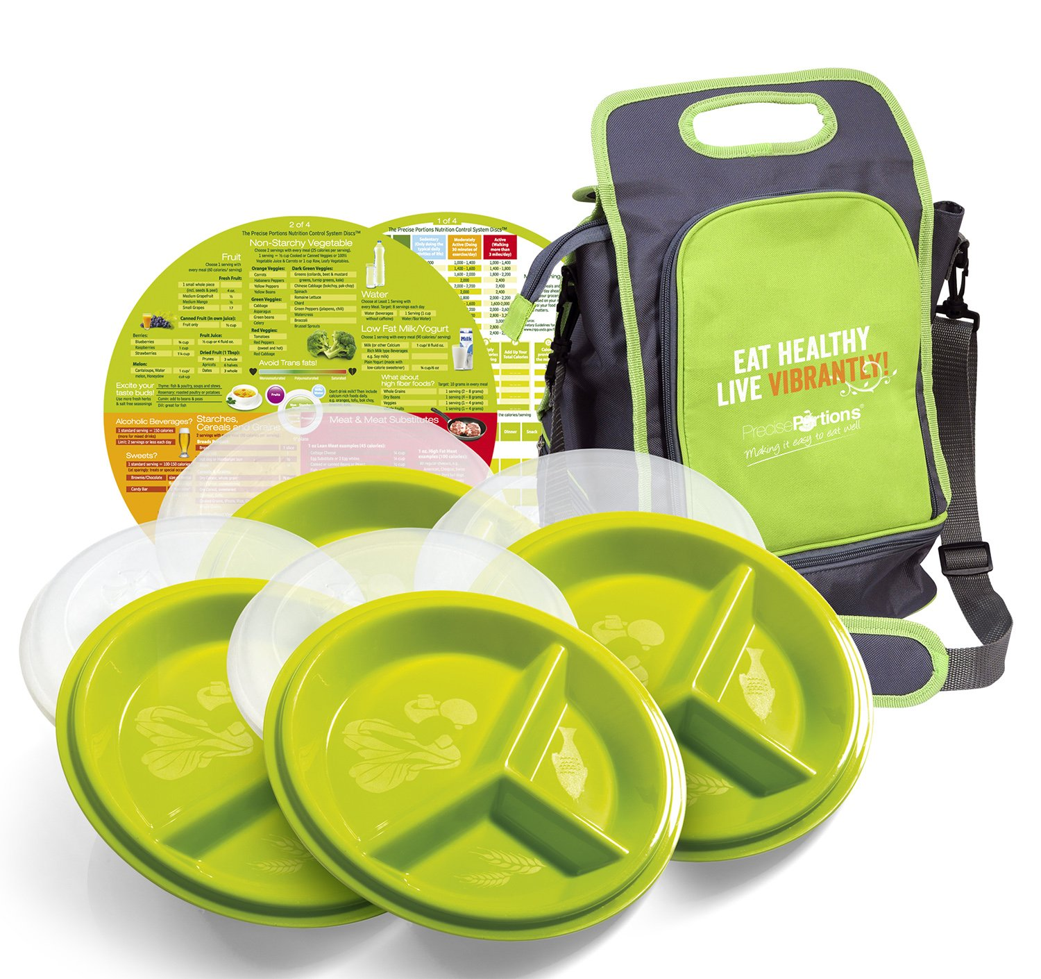 Precise Portions 4 Go-Healthy Store n Go Travel Combo Pack - Includes 4 Lidded, Snap-Tight Travel Plates And A Lunch Bag for Diabetes & Healthy Diet