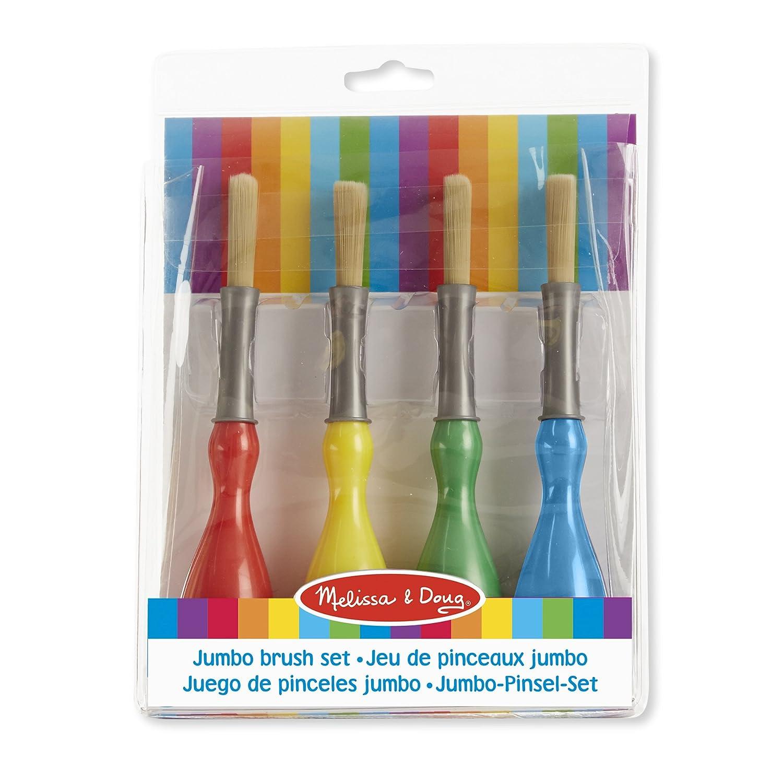 Melissa & Doug Jumbo Brush Set - 4-Pack, Paintbrushes in Red, Blue, Green, Yellow Melissa&Doug 14118