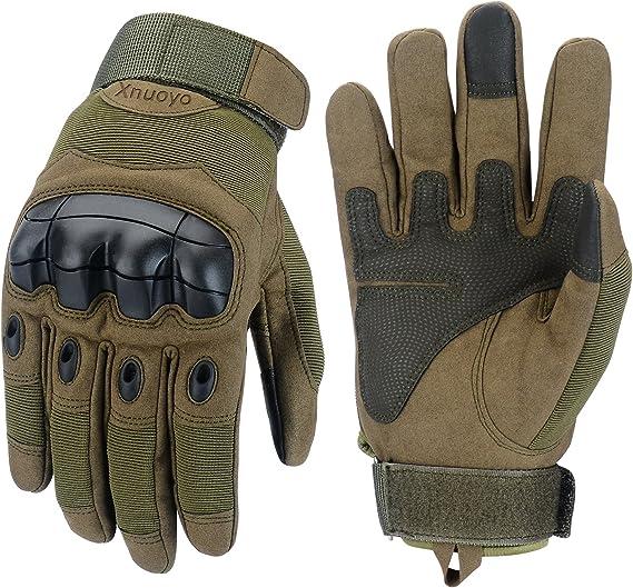 Xnuoyo Gloves Gummi Hart Knuckle Vollfinger und Halbe Fingerhandschuhe Schutzhandschuhe Touchscreen Handschuhe f/ür Motorrad Radfahren Jagd Klettern Camping