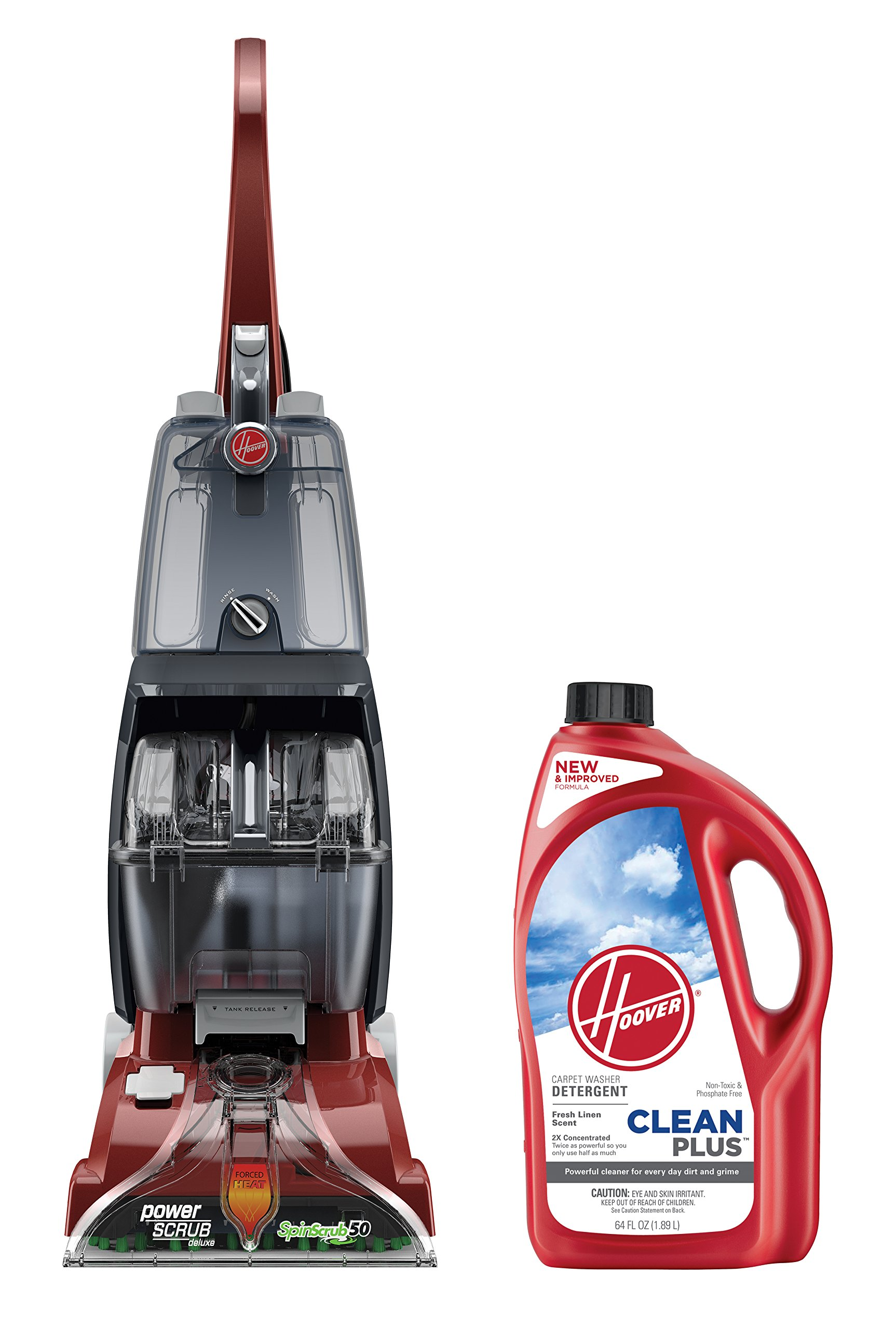 Hoover Power Scrub Deluxe Carpet Washer with CLEANPLUS 2X 64oz Carpet Cleaner and Deodorizer