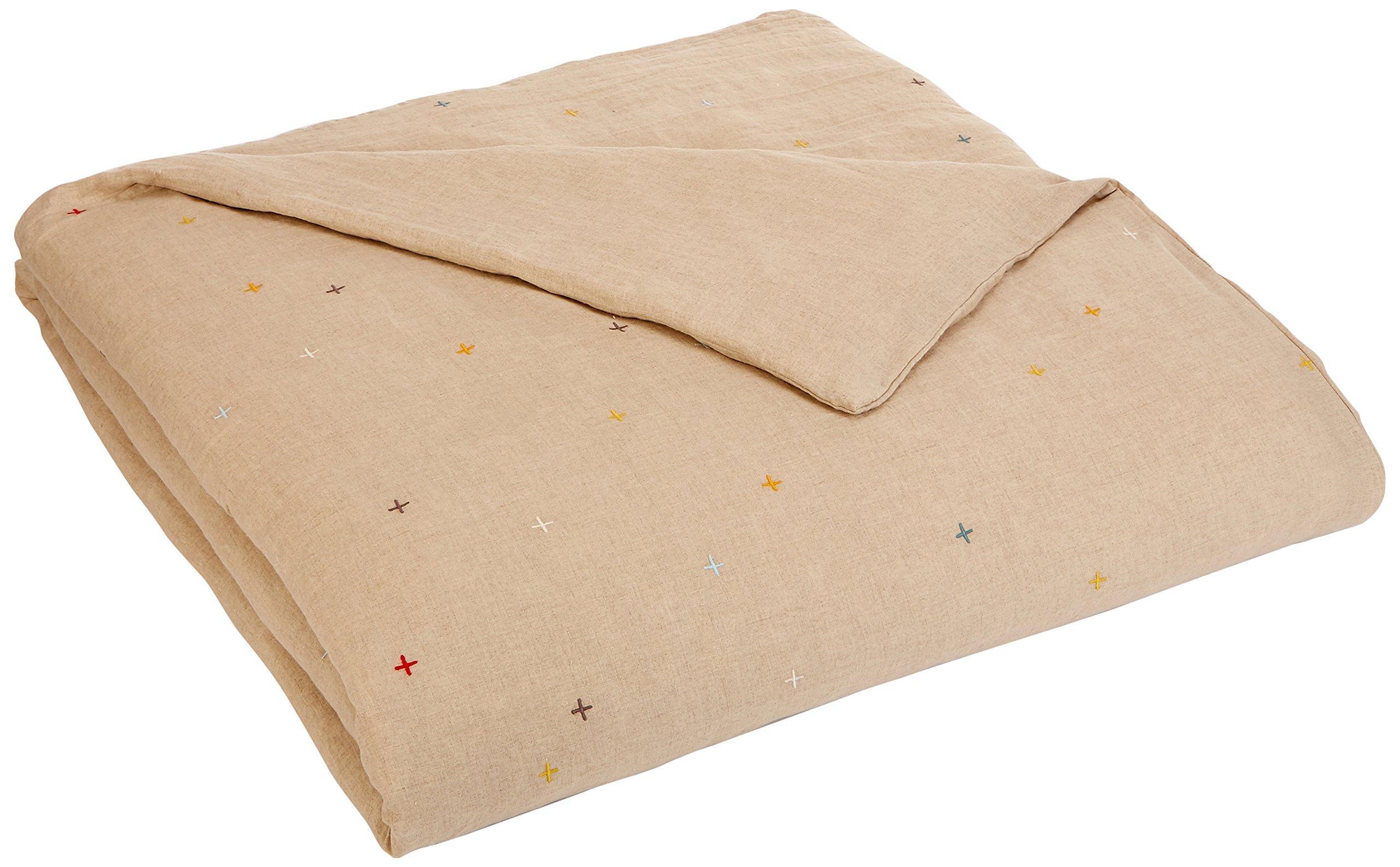 Coyuchi Scattered Embroidered Linen Duvet, Full/Queen, Undyed Linen w/Multi