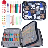 Teamoy Ergonomic Crochet Hooks Set, Knitting Needle Kit, Zipper Organizer Case With 9pcs 2mm to 6mm Soft Grip Crochets and Complete Accessories, Small Volume and Convenient to Carry, Cats Blue