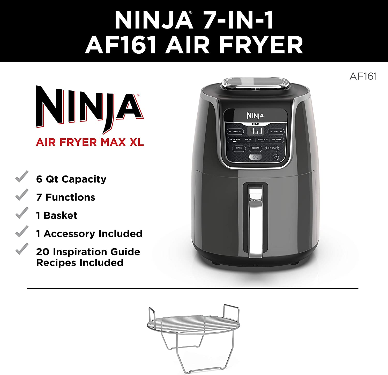 Amazon Com Ninja Max Xl Air Fryer That Cooks Crisps Roasts
