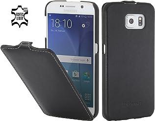 StilGut UltraSlim Case, Custodia in Pelle per Samsung Galaxy S6, Nero Nappa