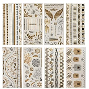 NOVAGO 8 Planches de 21x10 cm de Tatouages éphémères métalliques brillants , motifs variés