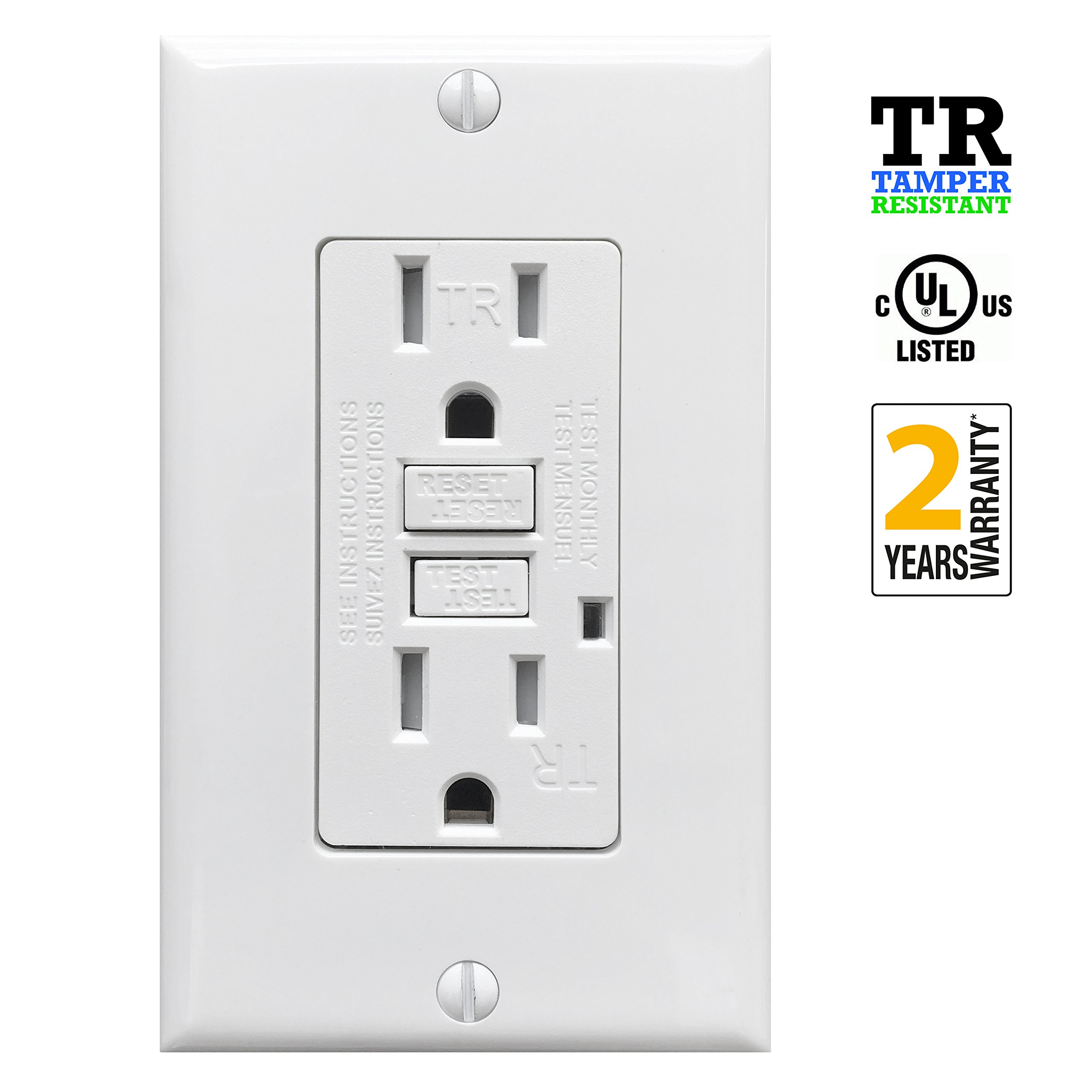 Best Rated In Ground Fault Circuit Interrupter Outlets Helpful How To Add Gfci A Box With One Outlet Controlled By Switch Procuru 15a Tamper Resistant Receptacle Led Indicator Wall Plate And Screws