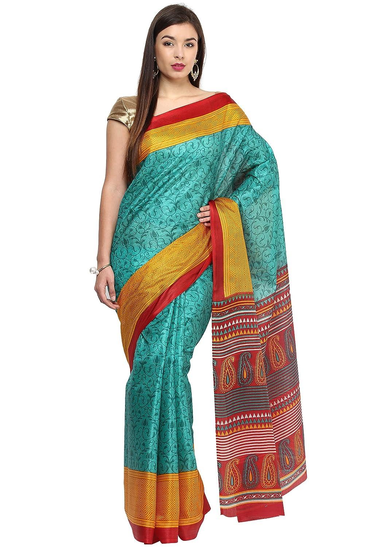 Fostelo Women's Art Silk Green Sari with Blousepiece (TNS-167)