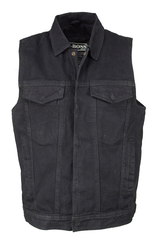 M-Boss Motorcycle Apparel-BOS13004-BLACK-Men's Denim Snap Front Vest w/Shirt Collar-BLACK-LG BOS13004-BLACK-LG
