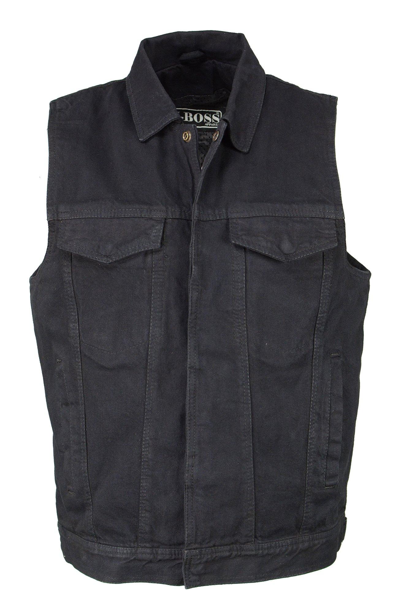 M-Boss Motorcycle Apparel-BOS13004-BLACK-Men's Denim Snap Front Vest w/Shirt Collar-BLACK-2XL