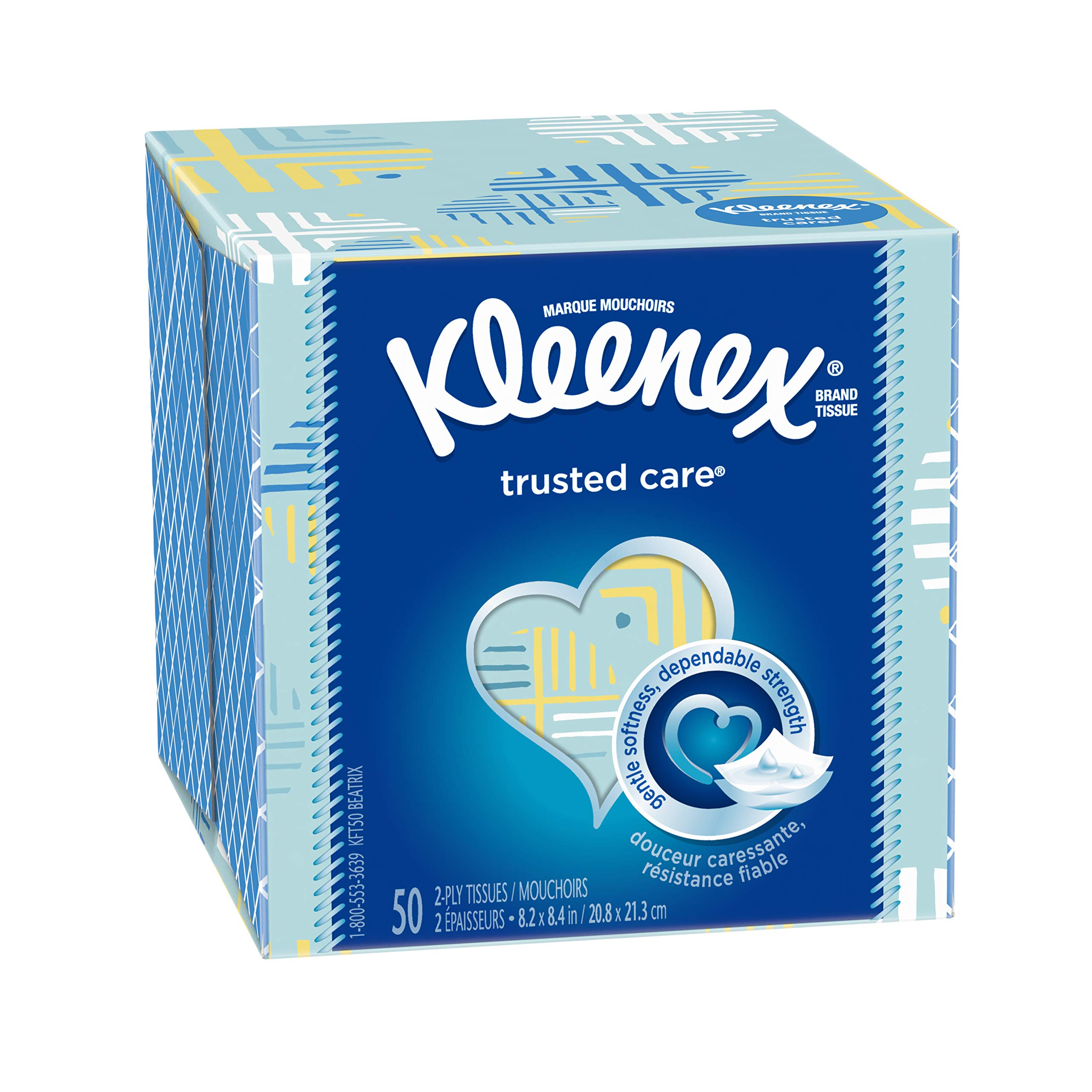 Kleenex Trusted Care Everyday Facial Tissues, Cube Box, 50 Tissues Per Box, 27 Count
