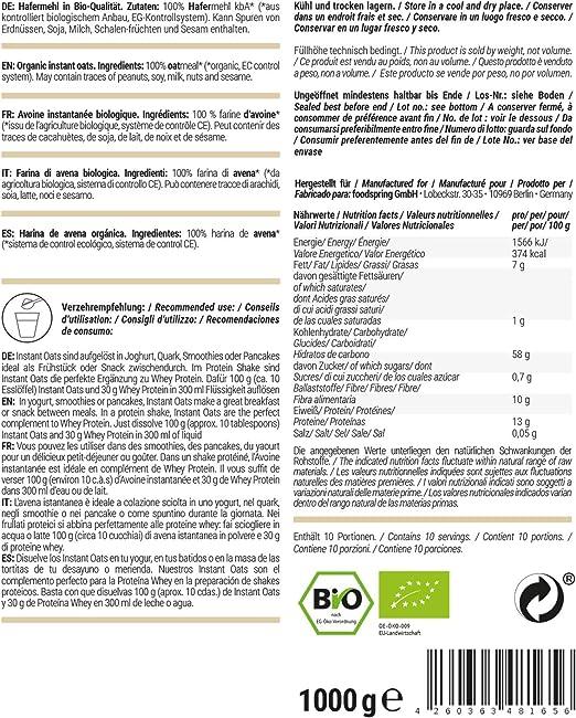 foodspring Orgánica Instant Oats, 1000g, El método conocido ...
